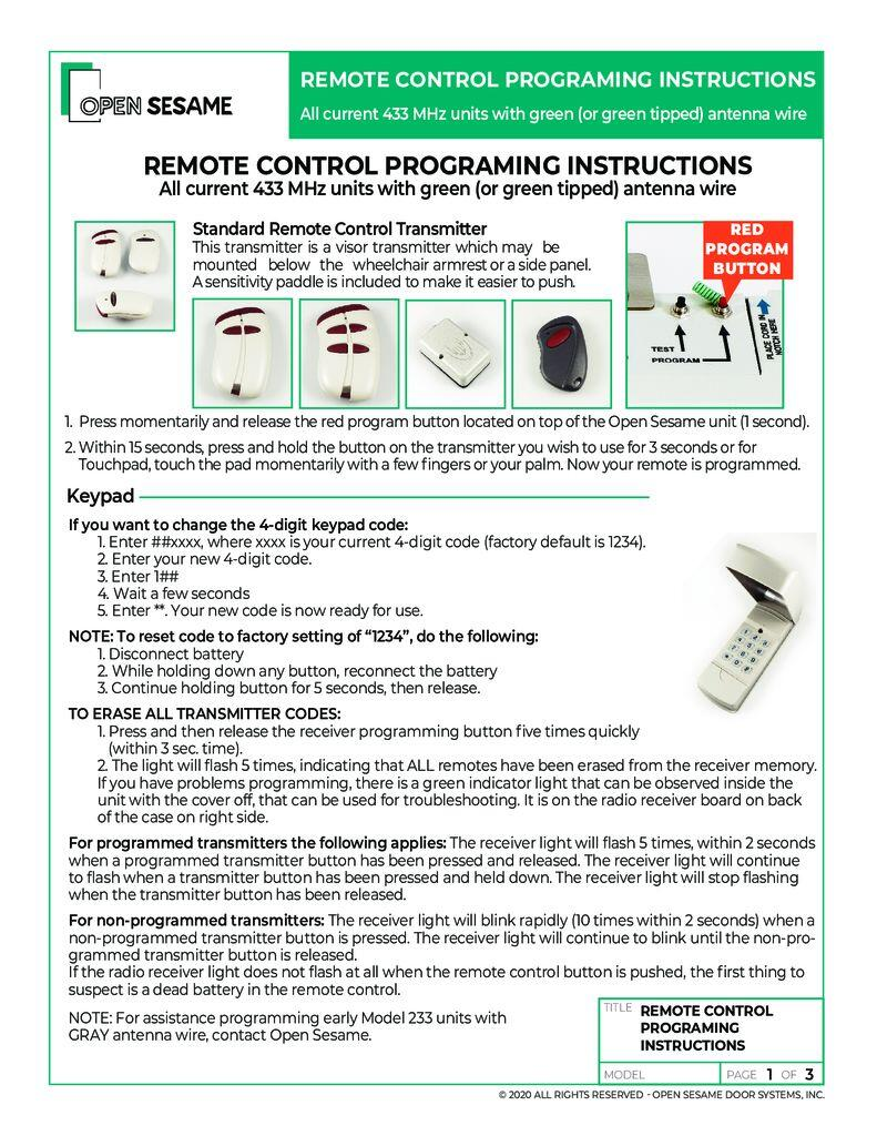 remote control programming instructions