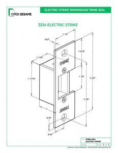 Trine 3334W Electric Strike dimensions